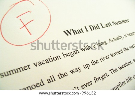 Term or school paper showing an 'F' grade.