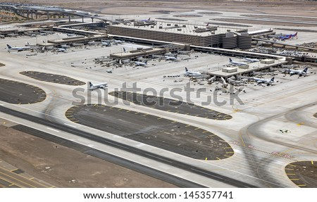 Terminal 4 at Sky Harbor International Airport, Phoenix, Arizona - stock photo