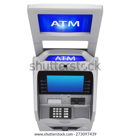 Terminal banking services to the display and keyboard. Monitor new terminal on a white background - stock photo