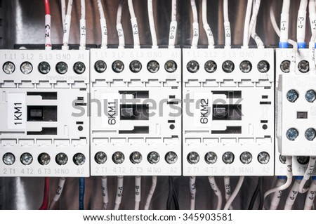 Terminal block. Industrial power case - stock photo