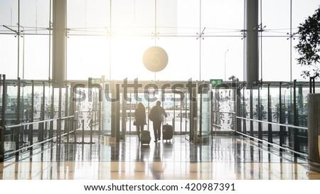 Terminal Departure Check-in. Walking travelers - stock photo