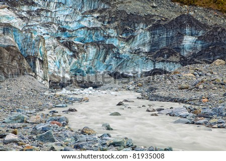 Terminal face of Fox Glacier in New Zealand - stock photo