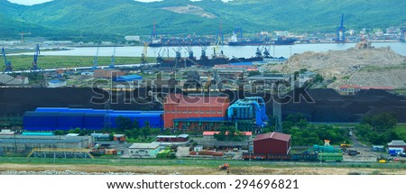 terminal for handling coal from railway wagons to the ship Russia Port Vostochny - stock photo