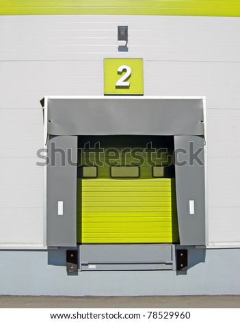 Terminal for truck loading or discharge with closed gates - stock photo