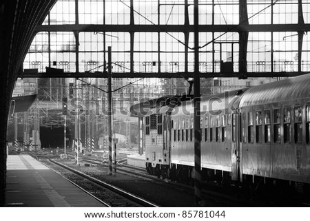 Terminal of Central Train Station in Prague - stock photo