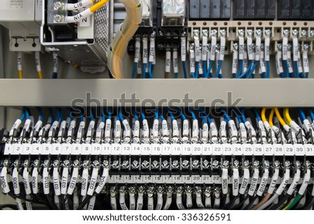 Terminal wiring panel with wires industrial factory - stock photo