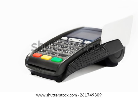 Terminal with credit card on a white background - stock photo