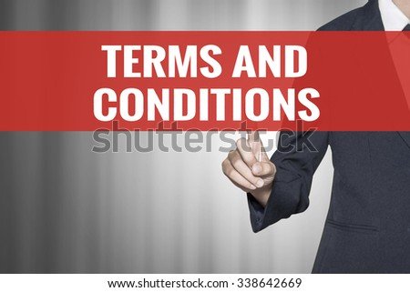Terms and Conditions word on virtual screen push by business woman red tab - stock photo