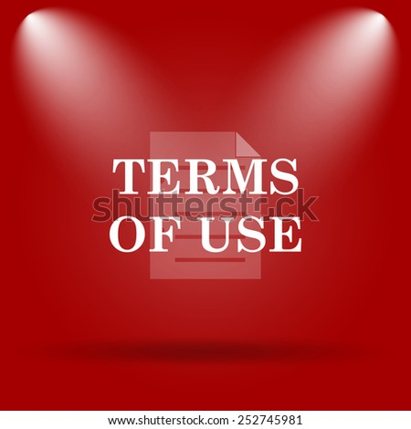 Terms of use icon. Flat icon on red background.  - stock photo