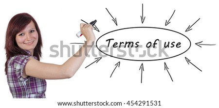 Terms of use - young businesswoman drawing information concept on whiteboard.  - stock photo