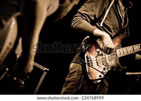 "TERNOPIL, UKRAINE - DECEMBER 14: Band ""Daktari"" live stage performing as part of annual Festival ""Jazz Bez"" on December 14, 2012 in Ternopil, Ukraine - stock photo"