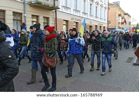 Ternopol'. Ukraine. on Decembers, 4 2013. Young people for support of Evromaydana and against the policy of the Ukrainian government.