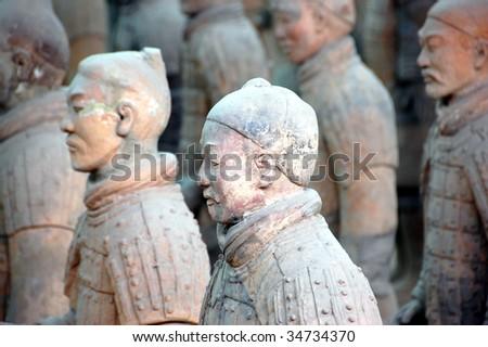 Terra cotta army warriors in Xian, China - stock photo