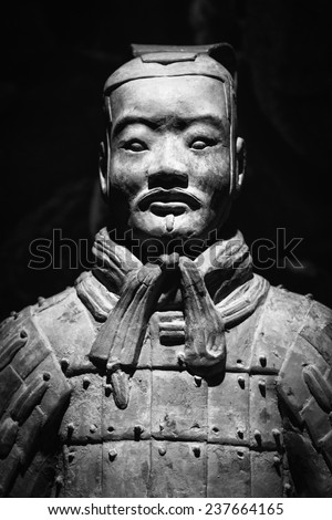 Terra Cotta Warriors(Close-up Face) Black and white