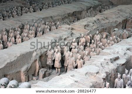 terra cotta warriors in china - stock photo