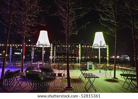 Terrace at night - stock photo