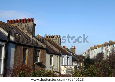 Terrace houses in Hastings in England. Victorian architecture and traditional english row of homes - stock photo