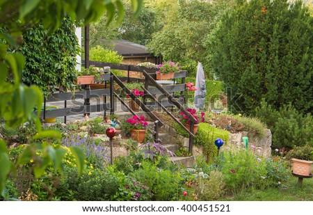 Terrace in the garden  - stock photo