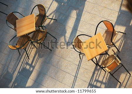 terrace of a cafe/restaurant on a sunny day - stock photo