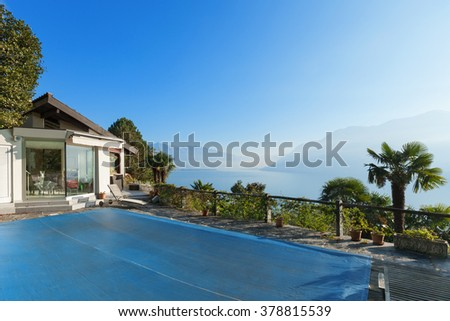 Terrace of a mountain home, exterior view - stock photo