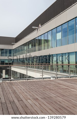 Terrace of a new modern office building - stock photo