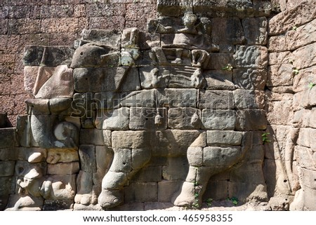Terrace of Elephants at Angkor Thom complex, Siem Reap, Cambodia