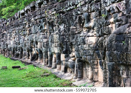 terrace of elephants at Angkor Thom complex, Siem Reap, Cambodia.
