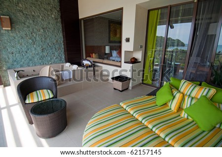 Terrace of luxury hotel, picture taken during the sunny day, Borneo. - stock photo