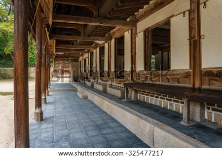 Terrace of one of the old traditional buildings in Changdeokgung Palace, Seoul, South Korea