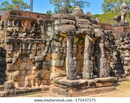 Terrace of the Elephants - Angkor Thom, Cambodia - stock photo