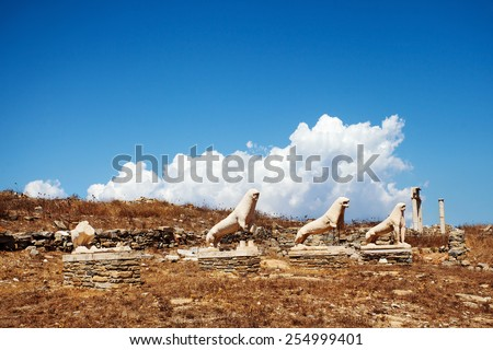 Terrace of the Lions in the island of Delos, an important archaeological sites in Greece  - stock photo