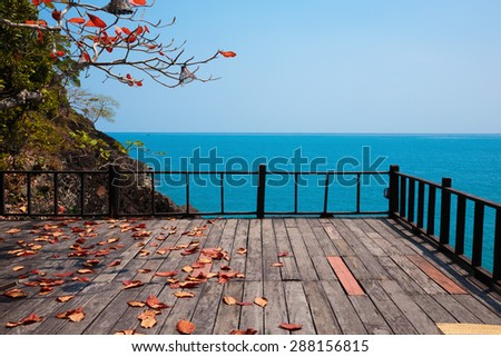 Terrace on a rock by the sea - stock photo