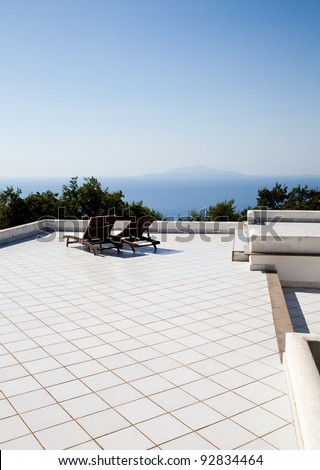 Terrace on Naples Gulf: two seats with a wonderful view - stock photo