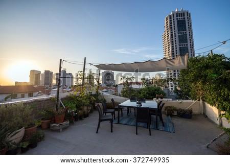 terrace on the roof of house in Neve Tzedek neighborhood, Tel Aviv, Israel - stock photo