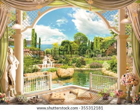 Terrace overlooking the garden - stock photo