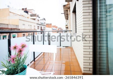 Terrace view in barcelona downtown - stock photo