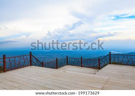 Terrace with beautiful mountain - stock photo