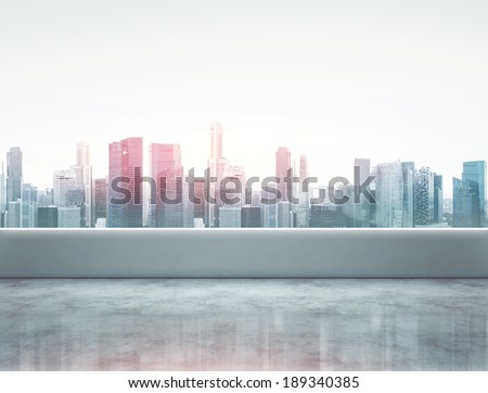 Terrace with modern city view - stock photo