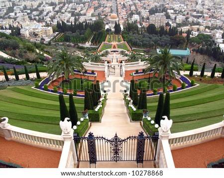 Terraced gardens of the Baha'i Temple in Haifa, Israel - stock photo