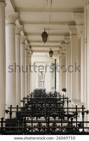 Terraced houses in London,Row of terraced houses in West-London. - stock photo