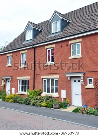 Terraced Houses on a Typical English Residential Estate - stock photo