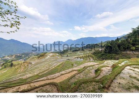 Terraced mountain scenery  - stock photo