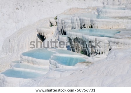 terraces of carbonate minerals - stock photo
