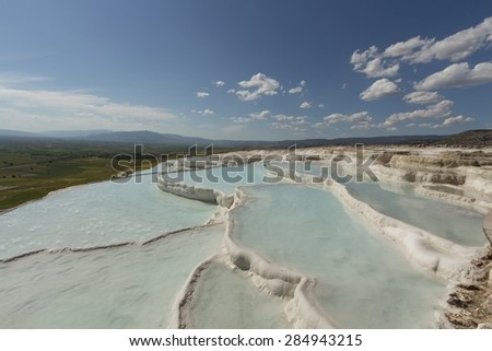 Terraces of Pamukkale shown - stock photo