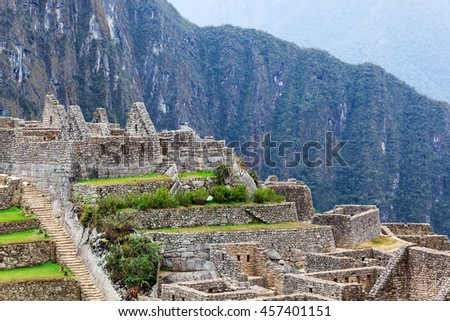 terraces, wall and ancient houses to Machu Picchu