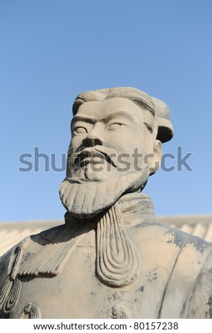 terracotta army figure in china - stock photo