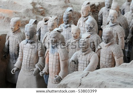 Terracotta army warriors in Xian, China - stock photo