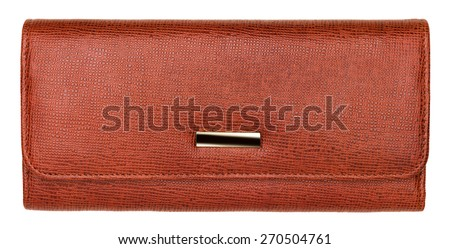 Terracotta natural leather wallet isolated on white background. Expensive woman's purse closeup - stock photo