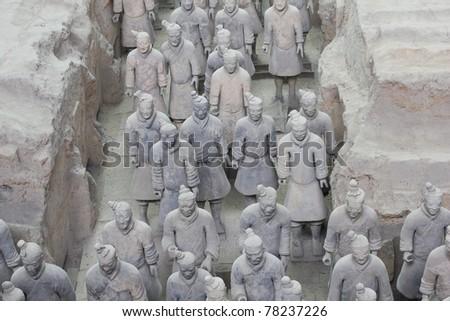 Terracotta warriors, X'ian, China - stock photo
