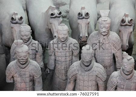 Terracotta warriors - XiAn, China - stock photo
